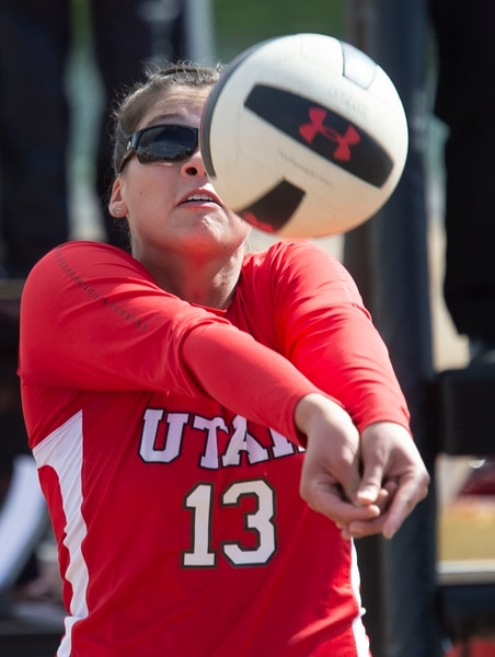 (Rick Egan | The Salt Lake Tribune) Kinga Windish hits the ball for Utah, in beach volleyball action between Utah and Colorado Mesa, in the first home tournament in history for the University of Utah, Saturday, April 13, 2019.
