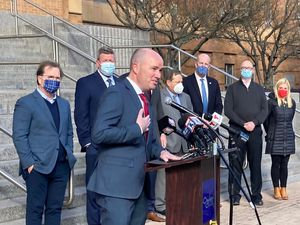 (Leia Larsen | The Salt Lake Tribune) Gov. Spencer Cox discuss Utah's affordable housing challenges at a news conference Tuesday, Feb. 23, 2021, announcing Ogden City's partnership with Landed, a company that provides down payment support for essential workers looking to buy homes.