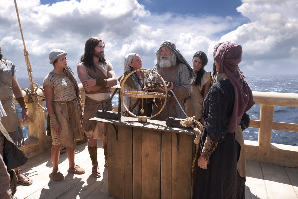 (Photo courtesy of The Church of Jesus Christ of Latter-day Saints) Book of Mormon Videos, 1 Nephi 1–2, Season 1, Episode 8, depicts Lehi, his wife, Sariah, and their family as they sail to the promised land on the ship built by Nephi (Lehi's son) and his brothers (Laman, Lemuel and Sam).