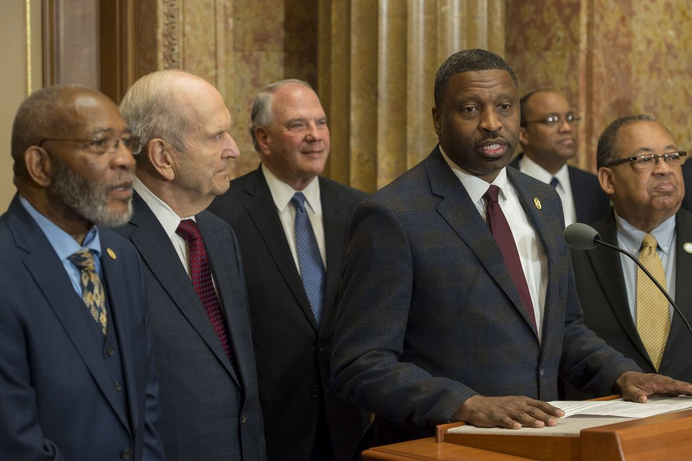 (Jeremy Harmon | The Salt Lake Tribune) Derrick Johnson, president and CEO of the NAACP, speaks during an event on May 17, 2018, when Latter-day Saint and NAACP leaders emphasize a need for greater civility and call for an end to prejudice. Church President Russell M. Nelson, at the left, will speak on Sunday at the NAACP's national convention.