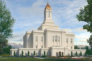 (Image courtesy of The Church of Jesus Christ of Latter-day Saints) An artist's rendering of the exterior of The Church of Jesus Christ of Latter-day Saints' to-be-constructed Deseret Peak Utah Temple in Tooele.
