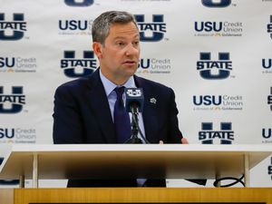 (Photo courtesy of Utah State Athletics) New Utah State basketball coach Ryan Odom lays out his plan for the Aggie program during his introductory press conference on April 7, 2021.