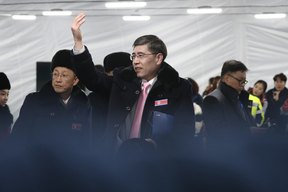 A North Korean delegation including 10 athletes of North Korean Olympic team, arrive at the Gangneung Olympic Village of the PyeongChang Winter Olympic Games 2018, in Gangneung, South Korea, Thursday, Feb. 1, 2018. (Jeon Heon-kyun/Pool Photo via AP)