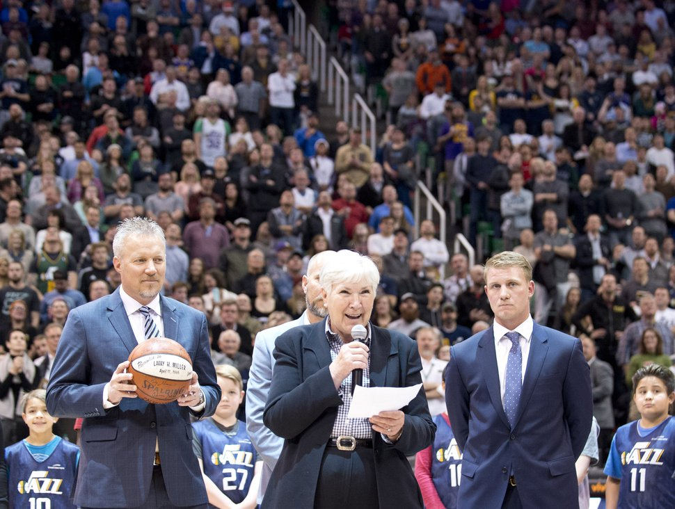(Tribune file photo) Gail Miller, owner and chairman of The Larry H. Miller Group of Companies, stands with Greg Miller, Steve Miller and Zane Miller to announce in 2017 the transfer of ownership of the Utah Jazz and Vivint Smart Home Arena to a family-owned legacy fund.
