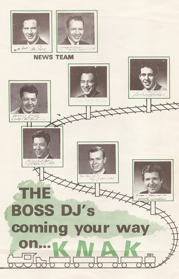 | Courtesy A tune chart showing KNAK radio lineup in the 1960s.