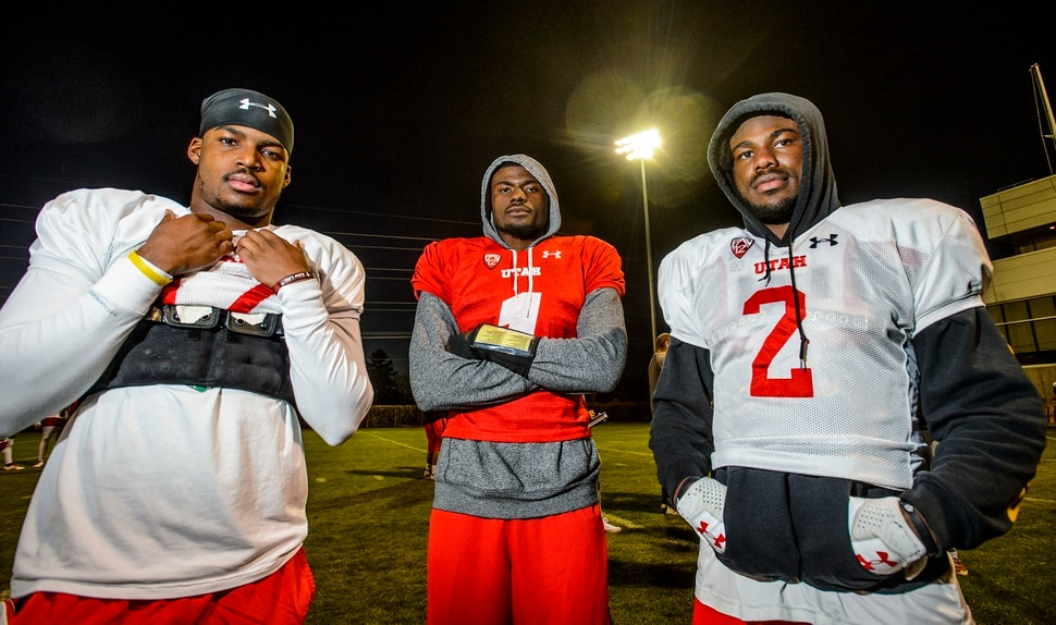 (Steve Griffin   The Salt Lake Tribune) Teammates in high school in South Florida, Demari Simpkins, Tyler Huntley and Zack Moss decided to come to Utah together and have found their way onto the University of Utah starting lineup. They were photographed following football practice on the University of Utah campus in Salt Lake City Tuesday November 14, 2017.