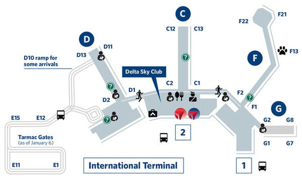 (Courtesy Salt Lake City International Airport) A diagram showing where shuttles will operate for some flights that had departed from Concourse E, which is being demolished as part of airport reconstruction.