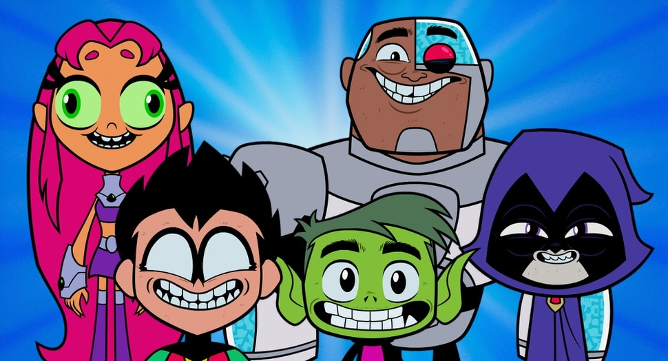 (courtesy Warner Bros. Pictures) The Teen Titans, DC Comics' junior crimefighters — from left, Starfire, Robin, Beast Boy, Cyborg and Raven) — head to Tinseltown in the animated Teen Titans Go! To the Movies, opening nationwide on July 27, 2018.