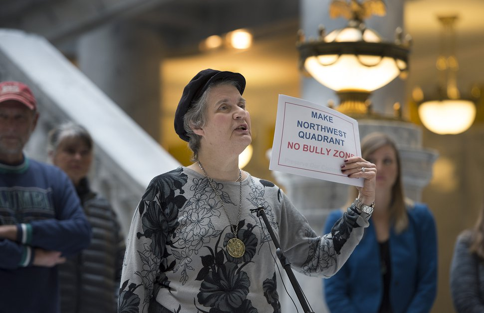 (Scott Sommerdorf | Tribune file photo) Dorothy Owen speaks about feeling bullied by state government as Utahns concerned about environmental health consequences and community impact from creating a state-controlled inland port authority in Salt Lake City's northwest quadrant held a press conference in the Capitol Rotunda on March 4, 2018.