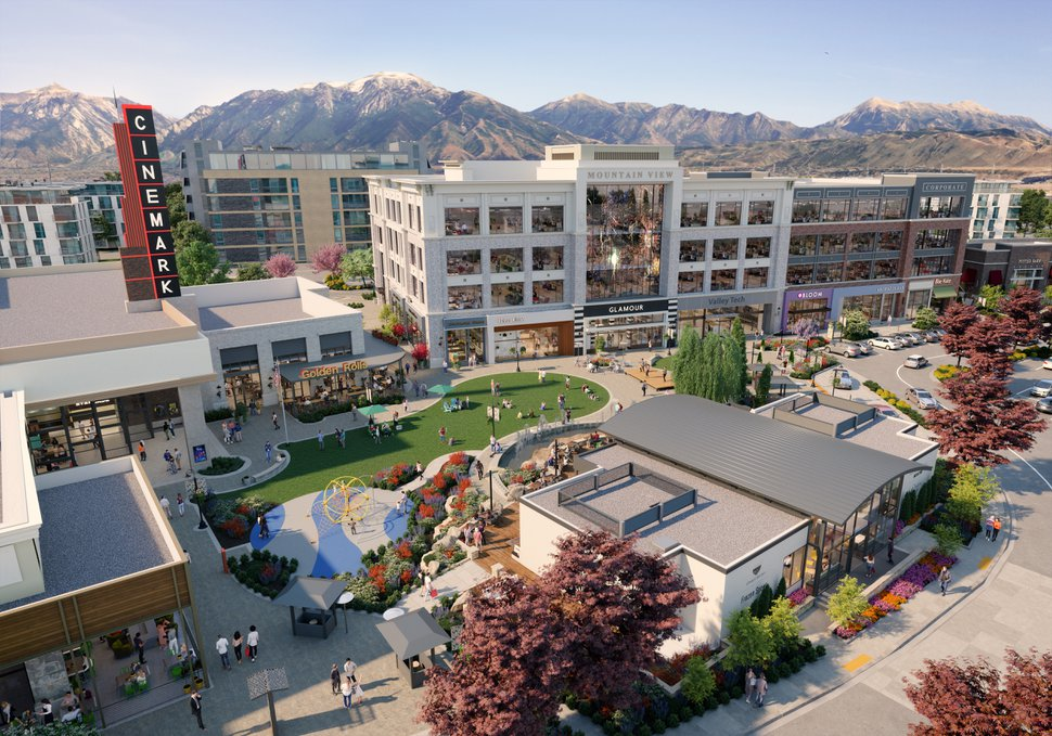 (Renderings courtesy of CenterCal Properties) Developers with the California company CenterCal have unveiled a second phase for Mountain View Village, the shopping, residential and office development in Riverton. A view looking southeast over the phase's plaza, show fountain and new Cinemark Theater.