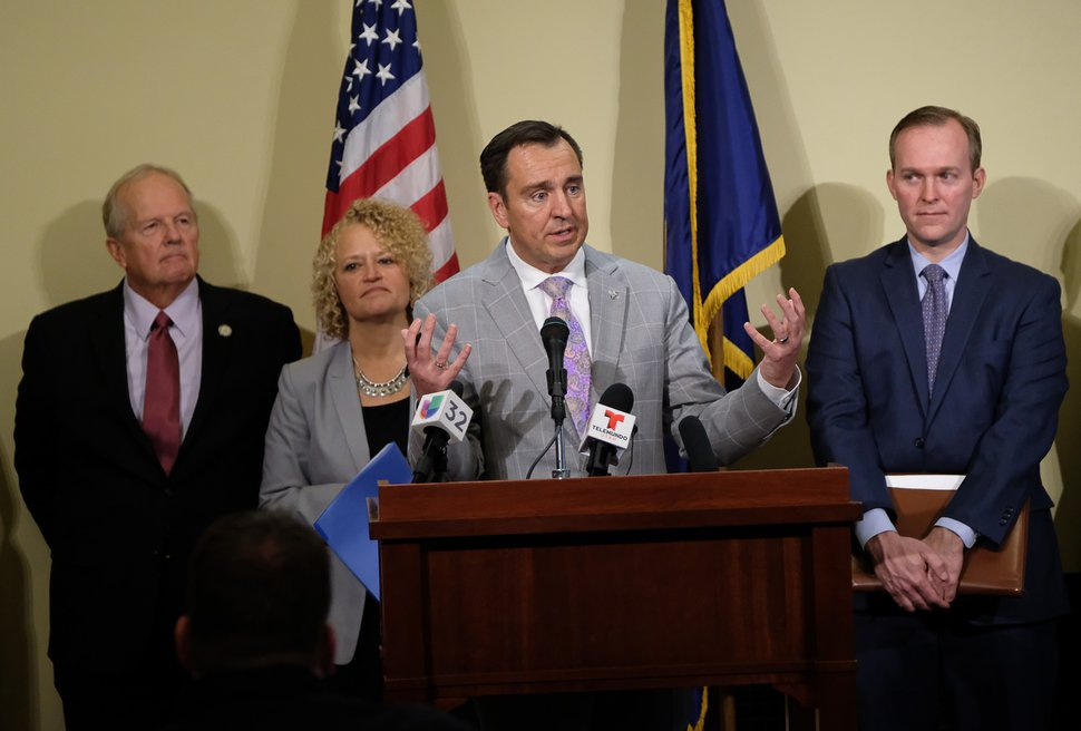 Francisco Kjolseth | The Salt Lake Tribune Speaker of the House of Representatives Greg Hughes, R-Draper, is joined by other Utah leaders in announcing that the city is dropping two of four planned homeless resource centers during a press announcement at the Utah Capitol on Friday, February 24, 2017. Also pictured are Rep. Mike Noel, R-Kanab, Salt Lake City Mayor Jackie Biskupski and Salt Lake County Mayor Ben McAdams, from left.