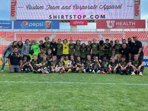 (Alex Vejar | The Salt Lake Tribune) The Wasatch High School boys' soccer team poses for a photo after winning the 5A state championship over the Skyline Eagles on Friday, May 28 at Rio Tinto Stadium.