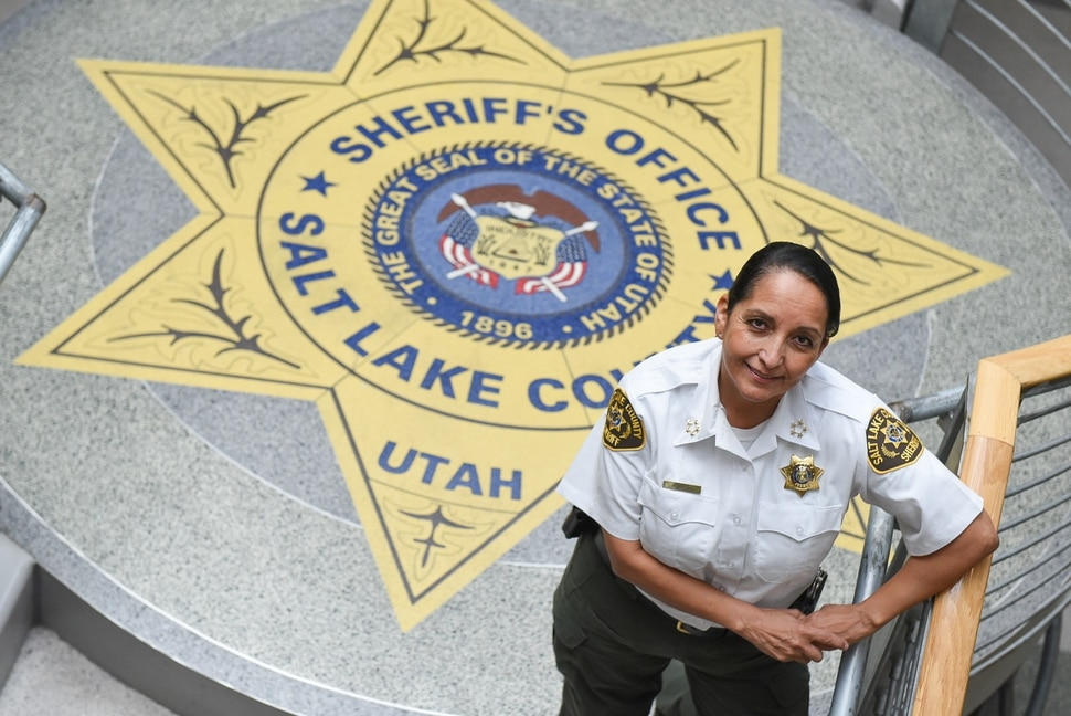 (Francisco Kjolseth | The Salt Lake Tribune) Rosie Rivera is the first woman in Utah to serve as any county's sheriff after being sworn in on August 15, 2017.