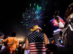 (Trent Nelson  |  The Salt Lake Tribune) Fireworks at the 4th of July Celebration at the Gateway in Salt Lake City, Thursday July 4, 2019.