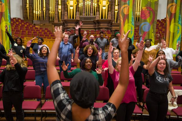 (Trent Nelson  |  The Salt Lake Tribune) The Debra Bonner Unity Gospel Choir rehearses in the Tabernacle for a celebration of the 50th aniversary of the Genesis Group, in Salt Lake City on Tuesday, Oct. 19, 2021.
