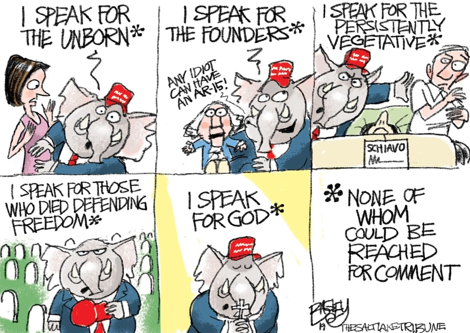 (Pat Bagley | The Salt Lake Tribune) This cartoon, titled Speaker for the Speechless, appears in The Salt Lake Tribune on Friday, May 17, 2019.