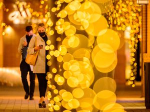 (Trent Nelson | The Salt Lake Tribune) Holiday lights at City Creek Center in Salt Lake City. After eight months of pandemic turmoil, downtown merchants now face a crucial holiday season.