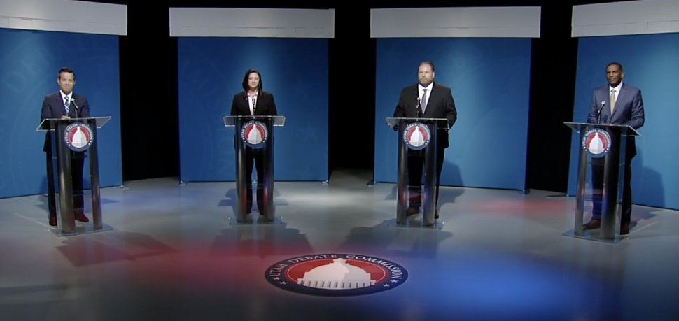 (Screenshot via Utah Debate Commission) Candidates for the Republican primary in the 4th Congressional District speak in a debate at the University of Utah, June 1, 2020. From left, Trent Christensen, Kim Coleman, Jay McFarland and Burgess Owens.
