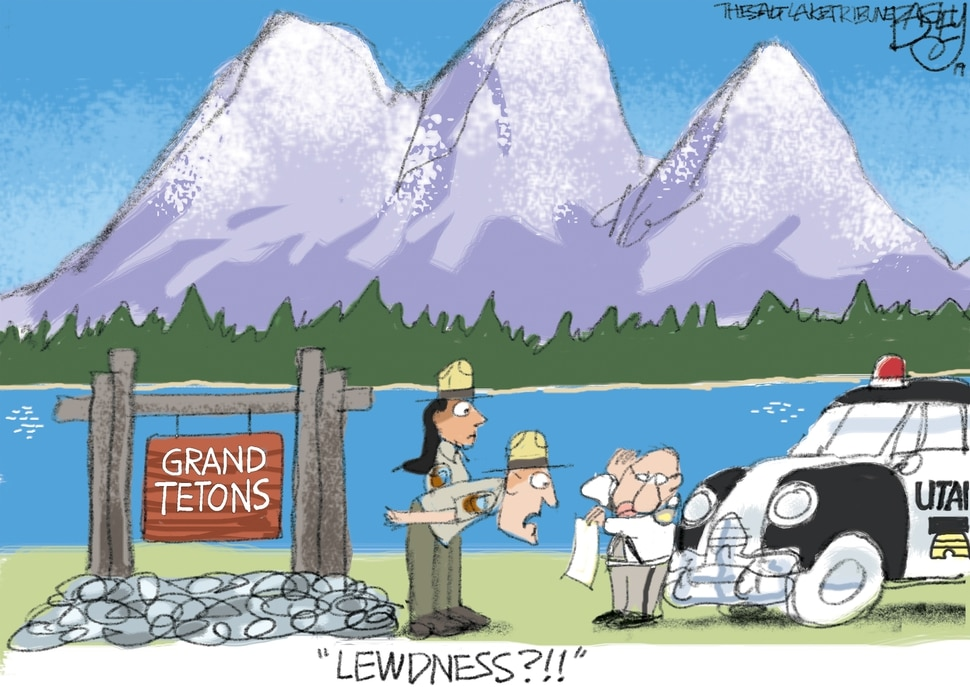 (Pat Bagley | The Salt Lake Tribune) This cartoon, titled Mountain Majesty, appears in The Salt Lake Tribune on Tuesday, Oct. 1, 2019.