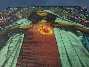 (Chris Detrick     Salt Lake Tribune file photo) A large mural of the Virgin Mary on the east side of the building at 158 E. 200 South in Salt Lake City is seen in 2010.
