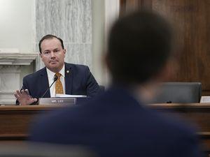 (Ken Cedeno | Pool via AP) Sen. Mike Lee, R-Utah, speaks during a hearing on Capitol Hill, Jan. 21, 2021, in Washington.