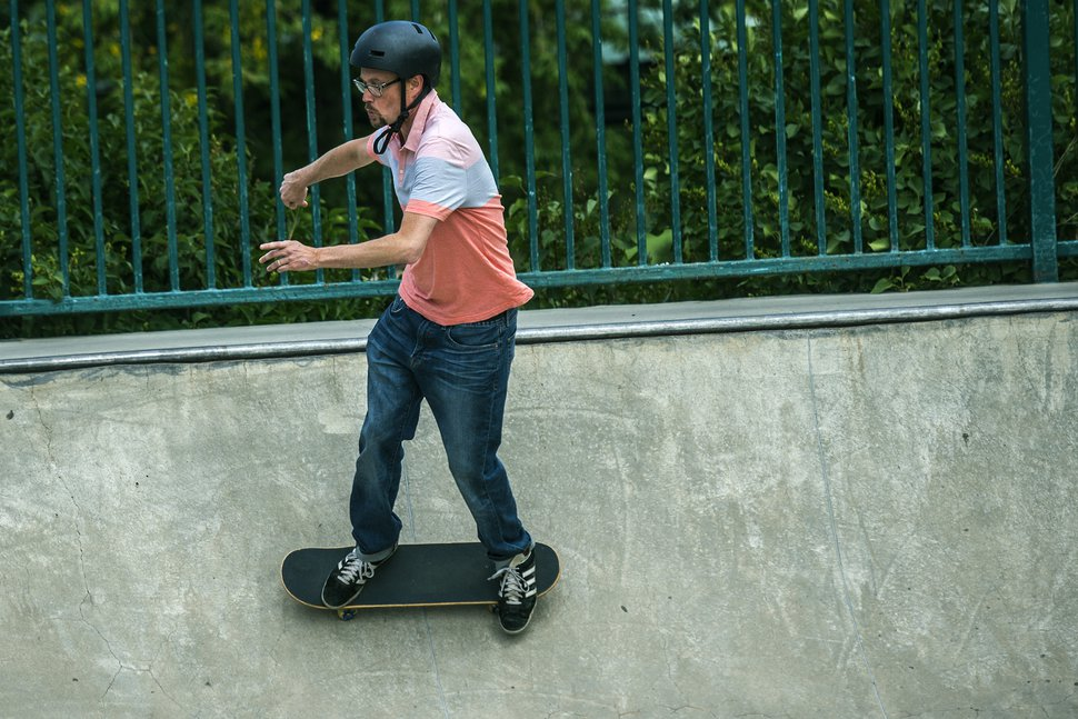 Chris Detrick | The Salt Lake Tribune Temple Har Shalom Rabbi David Levinsky skates at the Park City Skateboard Park Wednesday August 12, 2015.