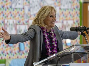 (Rick Egan | The Salt Lake Tribune) First lady Jill Biden speaks to faculty and guests at Glendale Middle School, on Wednesday, May 5, 2021.