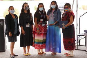 (Zak Podmore | The Salt Lake Tribune) An agent with the Federal Bureau of Investigation poses with Utah Navajo Health System's victim advocates Jessica Holiday (second from left), Tonya Grass, Lynn Bia and Danialle Whitehat, who received a community leadership award from the FBI in Montezuma Creek on Wednesday, July 14, 2021.