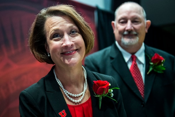 (Chris Detrick | The Salt Lake Tribune) Ruth Watkins speaks to members of the media after being introduced as the new president of the University of Utah at Rice-Eccles Stadium Thursday, January 18, 2018. Once her appointment is finalized, she will be the first female president of the state's flagship campus.