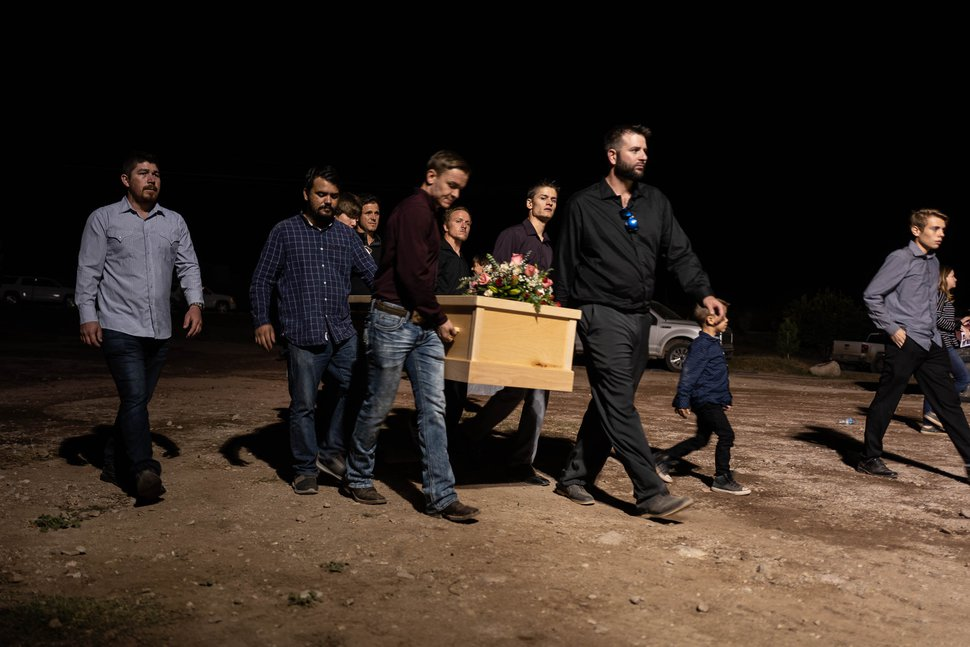 (Trent Nelson | The Salt Lake Tribune) Pallbearers carry the remains of four children who died with their mother Maria Rhonita Miller, following their funeral in La Mora, Sonora on Thursday Nov. 7, 2019. Howard Jacob Jr., 12; Krystal Bellaine, 10; Titus Alvin Miller, 8 months; and his twin sister, Tiana Gricel.