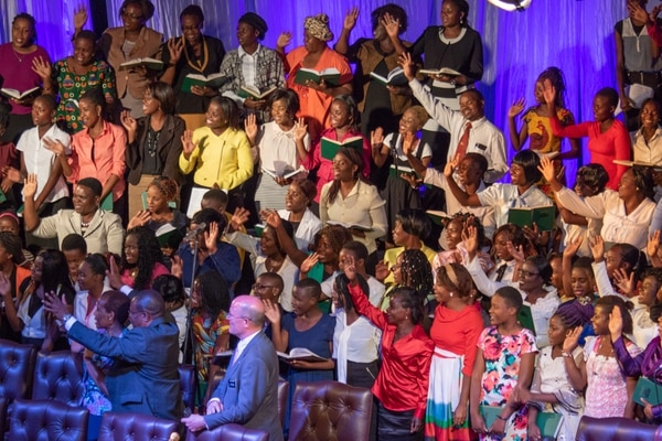 (Photo courtesy LDS Church) A children's choir of several hundred was among 4,000 Latter-day Saints greeting LDS Church President Russell M. Nelson on Tuesday in Harare, Zimbabwe.