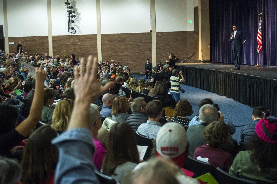 Chris Detrick | The Salt Lake Tribune U.S. Rep. Jason Chaffetz, R-Utah, speaks to a question during the town-hall meeting in Brighton High School Thursday, Feb. 9, 2017.
