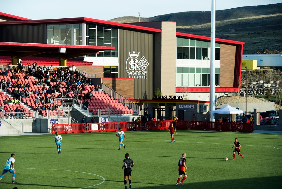 (Rick Egan | The Salt Lake Tribune) The Real Monarchs play the Las Vegas Lights FC at the new Zions Bank Stadium in, Herriman, Monday, April 30, 2018.