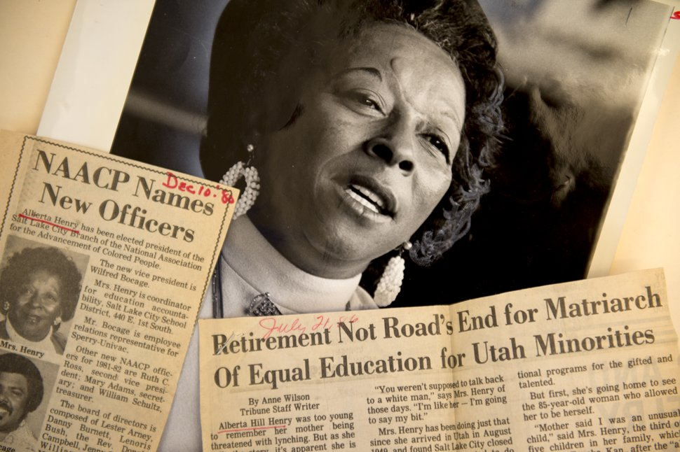 (Jeremy Harmon | The Salt Lake Tribune) Alberta Henry played a central role in the fight for civil rights in Salt Lake City. She was the first black person to work at Salt Lake City School District where she improved opportunities for minority students. She also served as the president of Salt Lake City's NAACP chapter.