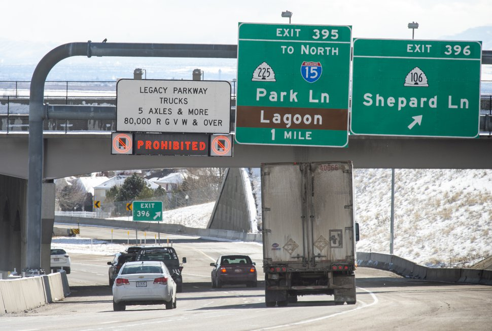 (Rick Egan | The Salt Lake Tribune) Big trucks stay to the right, on highway 89, to merge onto I-15, because of the ban on big-rig trucks on the Legacy Parkway. Thursday, Feb. 7, 2019.