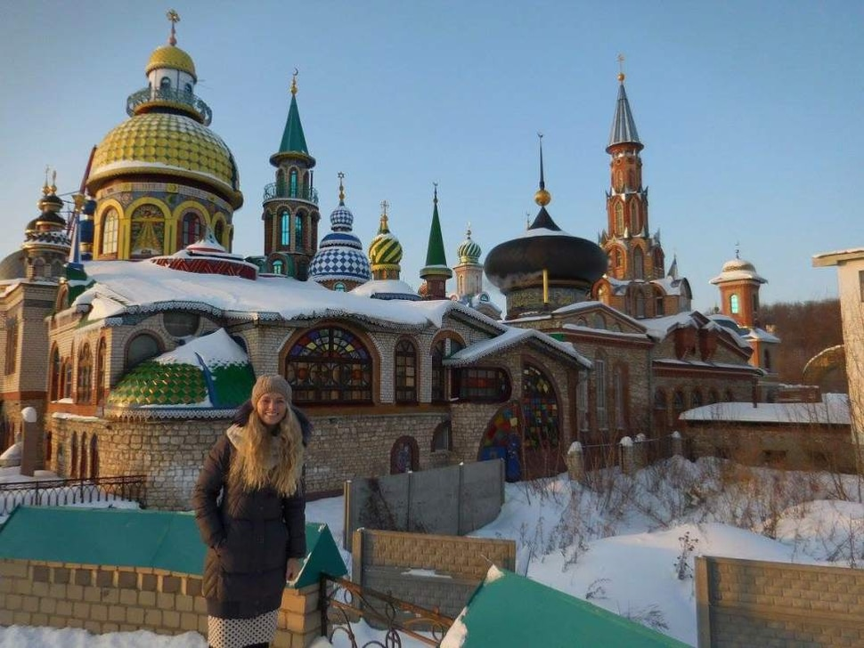Sariah Warnick at the Church of All Religions in Kazan, Russia. Warnick went to the church during a culture activity with some nonmembers from the English group.