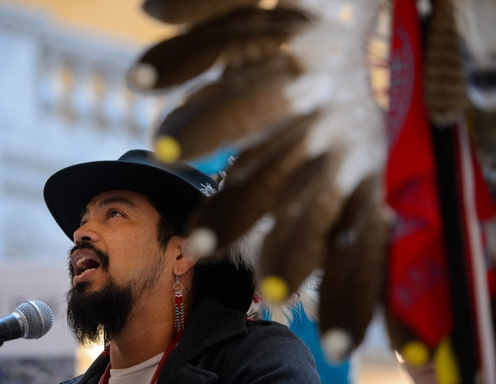 (Trent Nelson | The Salt Lake Tribune) Carl Moore performs a song at a rally against the Inland Port at the state Capitol in Salt Lake City on Monday, Feb. 3, 2020.