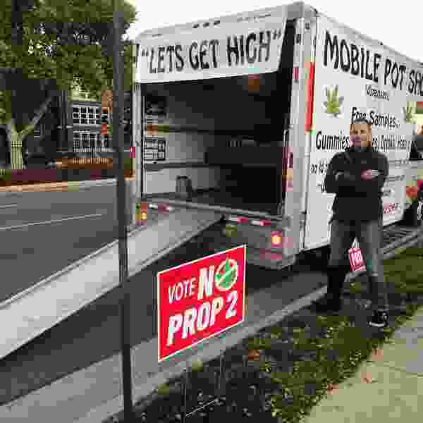 'Mobile pot shop' rolls up to local high schools as part of campaign against Prop 2