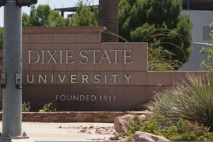 (The Associate Press) In this June 30, 2020, file photo, a sign stands at Dixie State University in St. George, Utah.