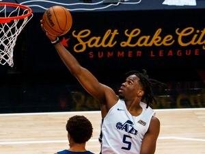 (Trent Nelson  |  The Salt Lake Tribune) Utah Jazz White forward Jarrell Brantley (5) shoots as Utah Jazz Blue faces Utah Jazz White in the Salt Lake City Summer League in Salt Lake City on Friday, Aug. 6, 2021.