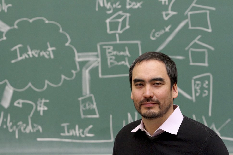 """Tim Wu, a professor of law at Columbia University who helped popularlize the tearm """"net neutrality,"""" in New York, May 5, 2014. (Tina Fineberg/The New York Times)"""