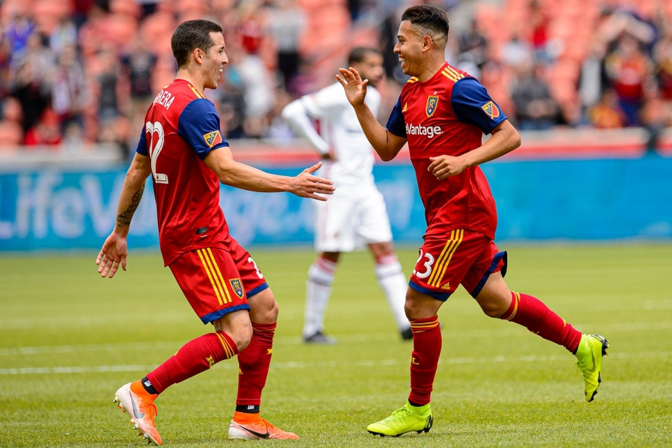 (Trent Nelson | The Salt Lake Tribune) Real Salt Lake midfielder Sebastian Saucedo (23, right) celebrates his first half goal with Real Salt Lake defender Aaron Herrera (22) as Real Salt Lake hosts Toronto FC, MLS Soccer at Rio Tinto Stadium in Sandy on Saturday May 18, 2019.
