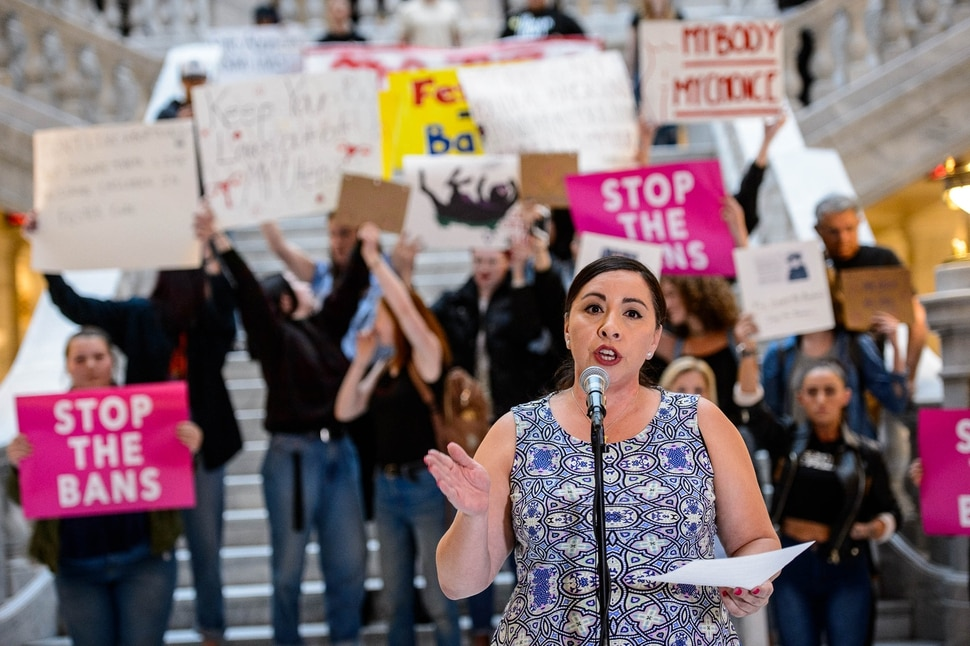(Trent Nelson | The Salt Lake Tribune) Rep. Angela Romero, D-Salt Lake, speaks at a rally in the Capitol Rotunda in Salt Lake City on Tuesday May 21, 2019. The rally was part of a nationwide series of protests to bring attention as a number of conservative states pass laws aimed at getting abortion before the U.S. Supreme Court.