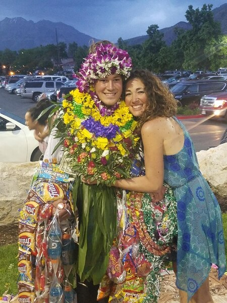 (Courtesy of Simione Malohifo'ou) Finehafo'ou Malohifo'ou graduated from Westlake High School in Utah County last month. He was not allowed to wear leis during the ceremony, and school staff asked him to remove the traditional Tongan ta'ovala cloth he wore under his gown. Pacific Islander students, when allowed, typically wear one or two fresh leis during their graduation to honor their heritage. Relatives then pile more on, in celebration, after the ceremony.