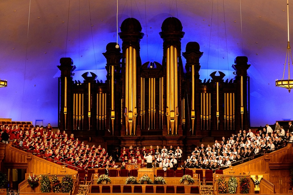 (Trent Nelson | The Salt Lake Tribune) The Mormon Tabernacle Choir warms up prior to funeral services for Elder Robert D. Hales at the Salt Lake Tabernacle in Salt Lake City Friday October 6, 2017.