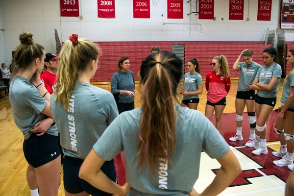 (Chris Detrick | The Salt Lake Tribune) University of Utah head volleyball coach Beth Launiere talks to the team during a practice at Crimson Court Tuesday, December 5, 2017.