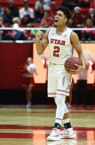 (Francisco Kjolseth | The Salt Lake Tribune) Utah Utes guard Sedrick Barefield (2) celebrates a shot against Northern Arizona in Men's Basketball at the Jon M Huntsman Center in Salt Lake City, Utah, on Friday, Dec. 21, 2018.