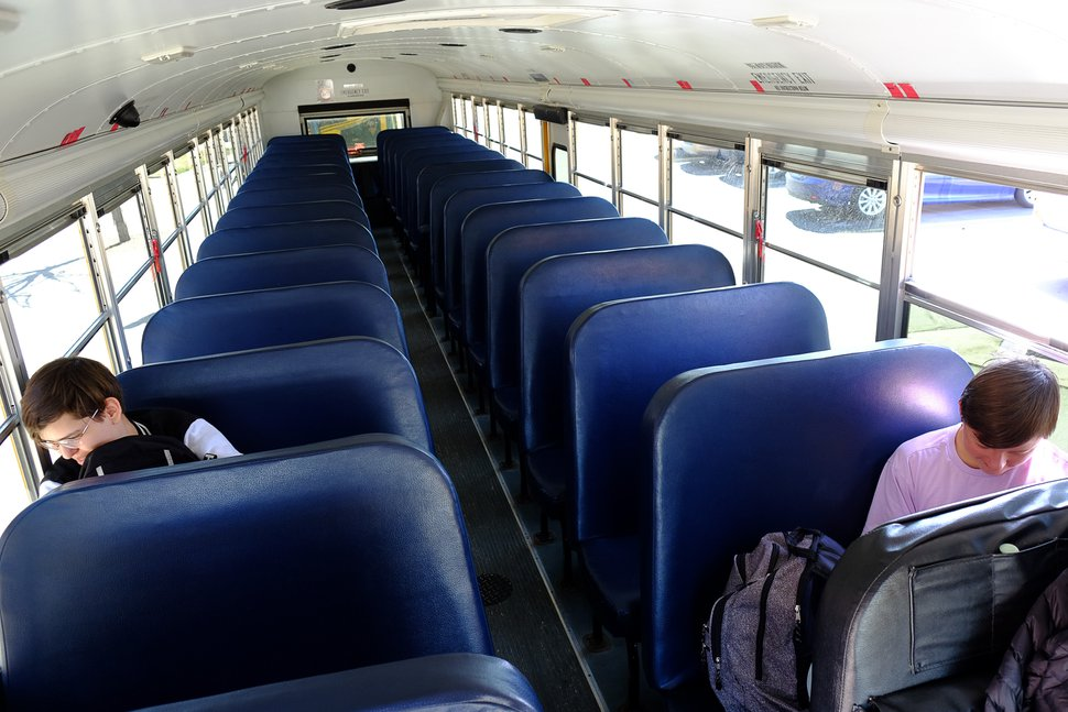 (Francisco Kjolseth | The Salt Lake Tribune) Nearly empty school buses get ready to leave Murray High School after the final bell on Thursday, March 12, 2020, after it was announced earlier in the day that the Murray School District in Salt Lake County will close