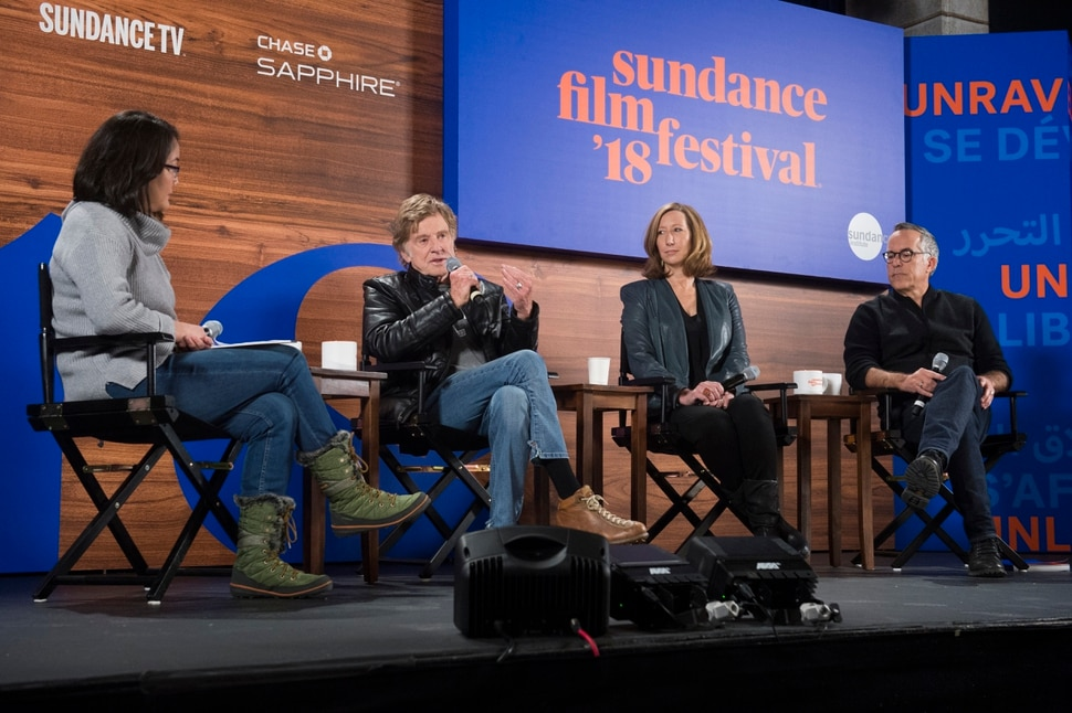 (Rick Egan | The Salt Lake Tribune) The opening news conference for the 2018 Sundance Film Festival with moderator Barbara Chai (Marketplace), Robert Redford, Keri Putnam (Sundance Institute executive director), and John Cooper (Sundance Film Festival director) and at the Egyptian Theatre in Park City, Thursday, January 18, 2018.