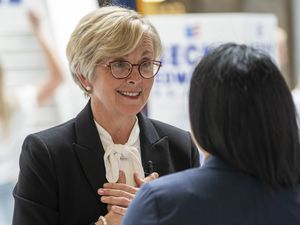(Rick Egan | The Salt Lake Tribune)  Former Rep. Becky Edwards visits with one of her supporters, after launching her U.S. Senate campaign against Mike Lee in the Capitol Rotunda, on Thursday, May 27, 2021.